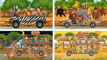 Conjunto de diferentes animales en escenas de safari con niños. vector