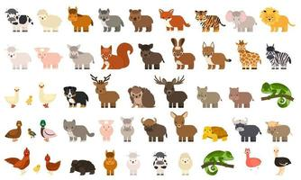 Big bundle of 50 funny domestic farm forest wild animals birds in flat style vector