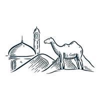 Ramadán islámico dibujado a mano ilustración mezquita camello vector