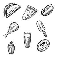 set fast food doodle vector illustration hand drawn