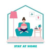 Stay Home Concept, Girl Sitting on an Armchair and Working Illustration vector