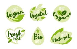 Healthy and Natural Lifestyle Logos Set vector