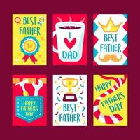 Set of 6 Greeting Cards for Father's Day vector