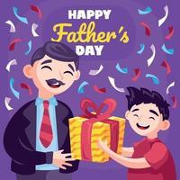 niño haciendo un regalo el día del padre vector