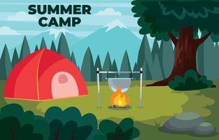 concepto de actividad de campamento de verano vector
