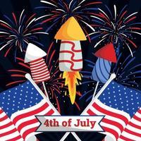 Fuegos artificiales con la bandera americana para el 4 de julio, día de la independencia de EE. UU. vector
