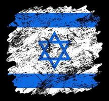 israel flag grunge brush background. Old Brush flag vector illustration. abstract concept of national background.
