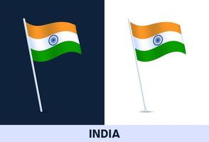 india vector flag. Waving national flag of Italy isolated on white and dark background. Official colors and proportion of flag. Vector illustration.