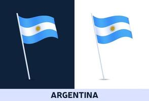 argentina vector flag. Waving national flag of Italy isolated on white and dark background. Official colors and proportion of flag. Vector illustration.