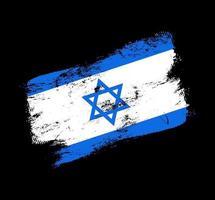 Fondo de pincel de grunge de bandera de Israel. Ilustración de vector de bandera de pincel viejo. concepto abstracto de origen nacional.