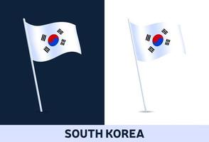south korea vector flag. Waving national flag of Italy isolated on white and dark background. Official colors and proportion of flag. Vector illustration.