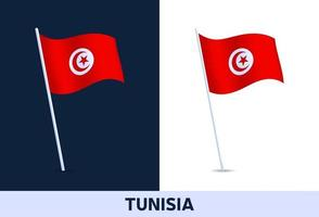 tunisia vector flag. Waving national flag of Italy isolated on white and dark background. Official colors and proportion of flag. Vector illustration.