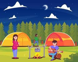 Happy People Enjoying Summer Camp vector
