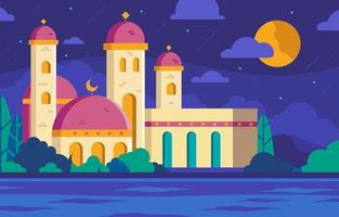 Mosque with Night Sky Background vector