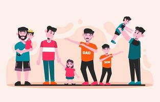 Father and Children Character Collection vector