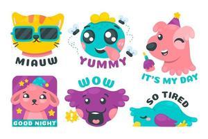 Cute Pet Sticker Pack vector