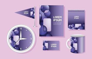 Purple Corporate Identity Template Set vector
