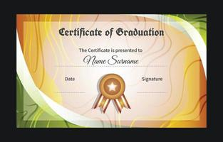 Graduation Certificate with Medal Template vector