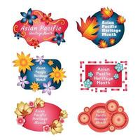 Asian Pacific Heritage Month Icon Set Template vector