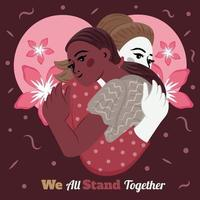 We All Stand Together Illustration Template vector