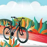 bicicleta en el parque plantilla de fondo vector
