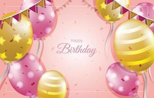 Feliz cumpleaños con plantilla de fondo de decoración de oro y rosa vector