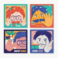 Happy Father's Day Card Set vector