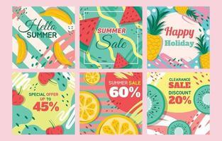 conjunto de publicaciones de redes sociales de verano vector
