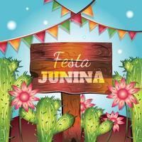 Festa Junina with Cactus and Flowers vector