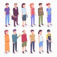 Isometric Character of Different People vector