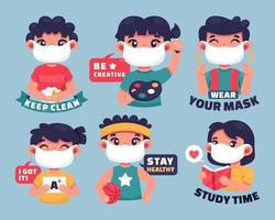 School Activity Sticker Collection vector