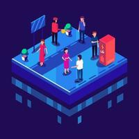 People in Different Activity in Isometric Style vector