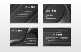 Abstract Black Business Card Template vector