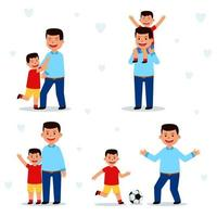 colección de personajes de padre e hijo vector