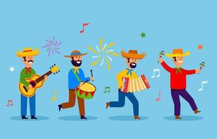 colección de personajes de festa junina vector