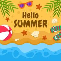 Hello Summer Beach Background vector