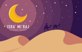 Isra Mi'raj The Night Journey Background vector