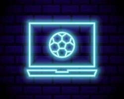 Live Soccer Neon Sign Vector. Live Football Logo neon, design template emblem, online soccer symbol, light banner, bright night football advertising, european football sign. Vector illustration isolated on brick wall.