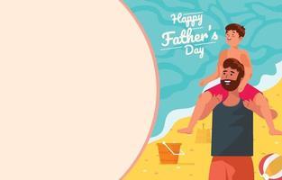 El padre lleva a su hijo al hombro en el concepto de playa vector