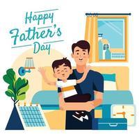 padre lleva a su hijo a dormir en casa durante el feliz día del padre concepto de vacaciones vector