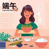 Delicious Zongzi on Dragon Boat Festival Prepared by Mother Concept vector