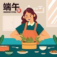 Mujer cocinar delicioso zongzi en el concepto del festival del barco del dragón vector