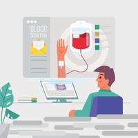 El hombre recibe el concepto de invitación a la donación de sangre vector