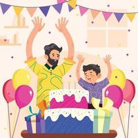 padre e hijo celebran la fiesta de cumpleaños en el concepto de casa vector