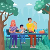 familia, tomar un picnic, tiempo, juntos, concepto vector