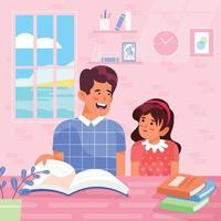 Father Helps Daughter in Her Lesson Concept vector
