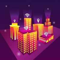 ilustración de ciudad inteligente vector