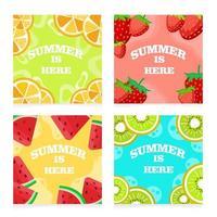 Fruit Set Bright Summer Cards vector