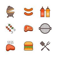 Barbacoa al aire libre actividad de verano diseño de conjunto de iconos vector