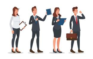 conjunto de diseño de personajes de negocios de personas ejecutivas vector